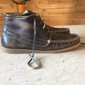 Bed Stü Distressed Navy Blue Boat Shoes sz 8.5